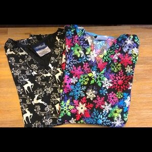Two Winter/Holiday Scrub Tops